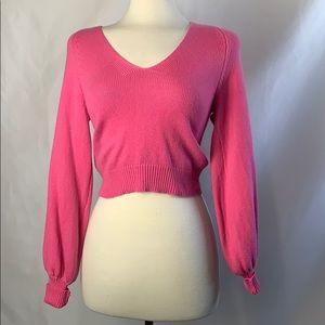 BCBG Tweed Cropped Pink Sweater